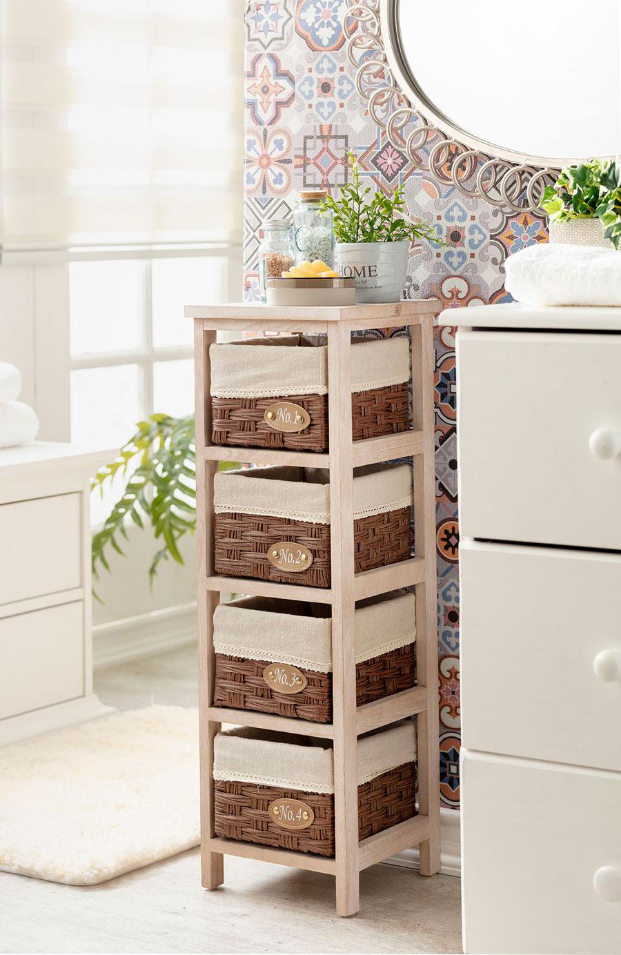mueble con canastos para organizar el baño