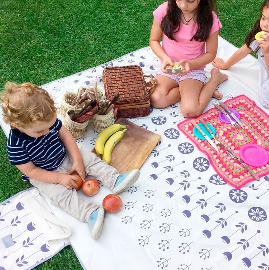 Niños sentados sobre manta de picnic en el pasto