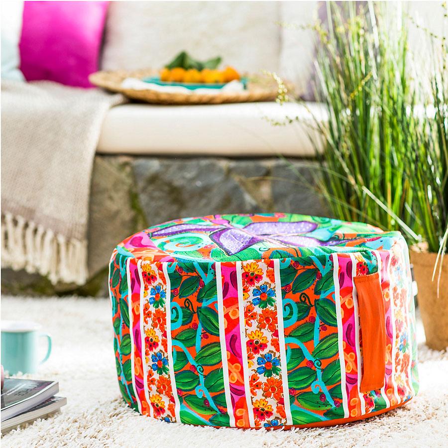 pouf de tela en varios colores