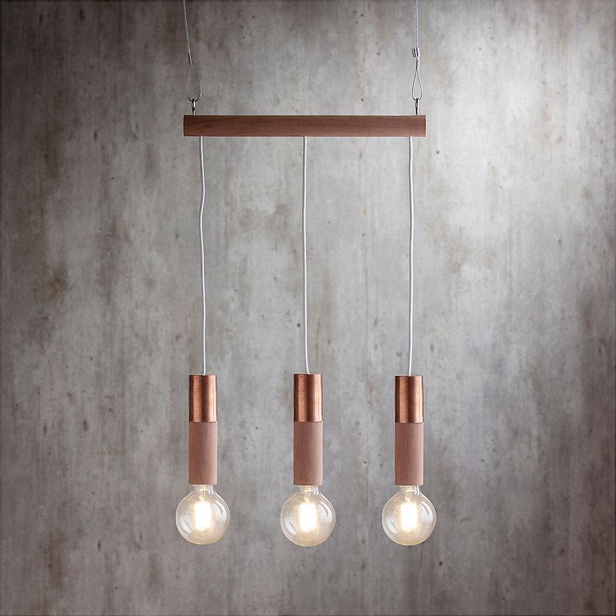 lámparas NÜN para colgar, con cables, madera, cobre y vidrio