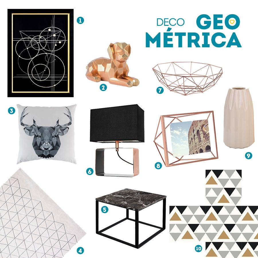 Moodboard con diferentes productos de decoración con motivos geométricos, como cuadros, mesas, alfombras, jarrones, lámparas, portaretratos y bowls