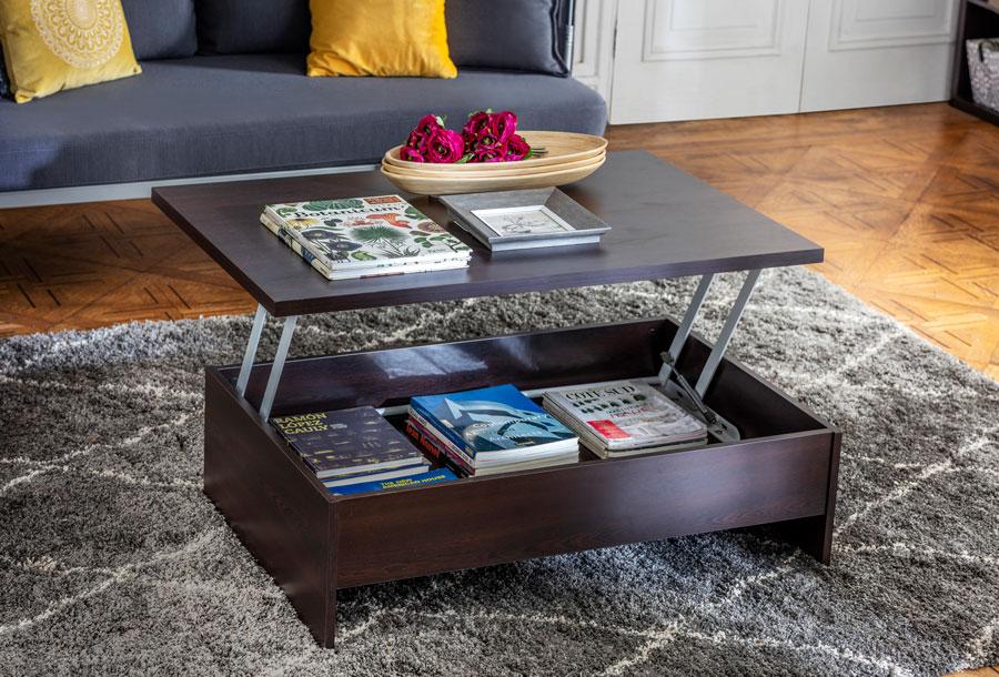 Mesa de madera con espacio para almacenaje