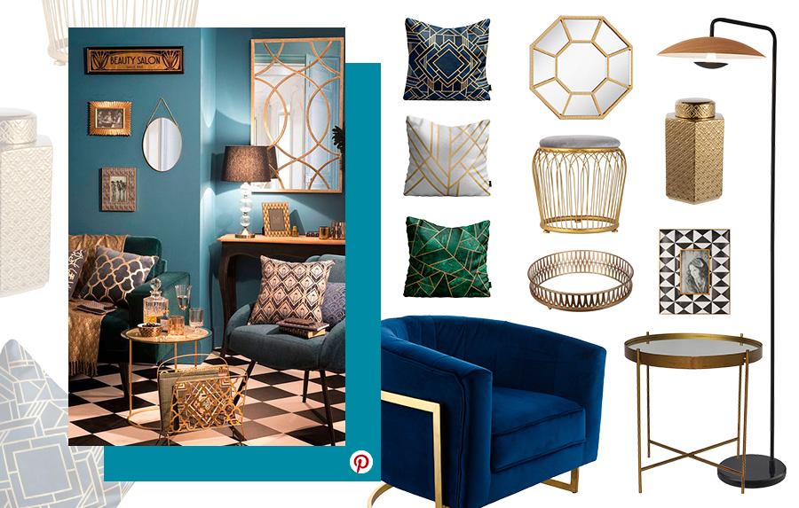 2019: Ambiente de living en estilo art decó con diferentes muebles, cojines y accesorios acorde al estilo con figuras geométricas, curvos y detalles dorados.