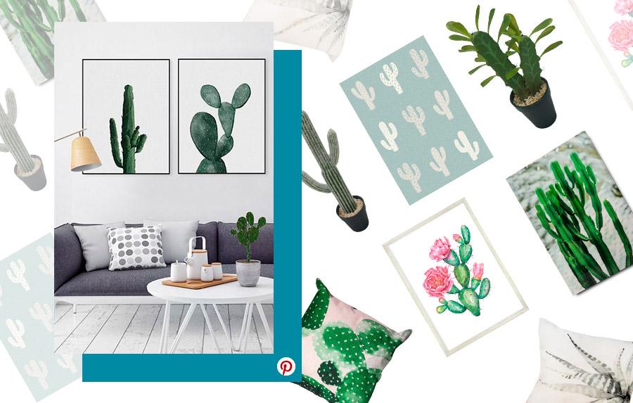 Tendencias deco 2019: Diferentes artículos con diseño de cactus: cuadros, cojines, alfombra y plantas artificiales