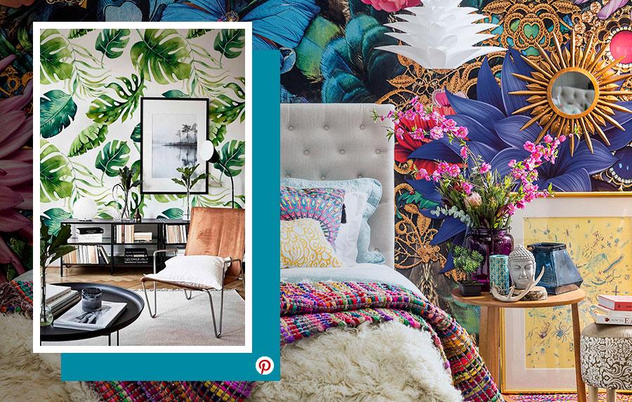 Tendencias deco 2019: Dos ambientes, un living y dormitorio adornados con papel mural pintado con coloridas flores y otro con palmeras.