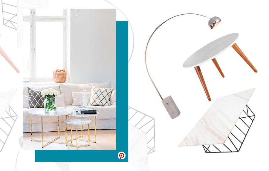 Tendencias de decoración 2019: Ambiente de living con accesorios en mármol. Productos como mesas de centro redonda y rectangular, además de una lámpara con base de mármol.