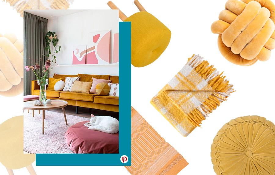 Tendencias deco 2019: Diferentes accesorios en color mostaza: pouf, manta, cojines y alfombra
