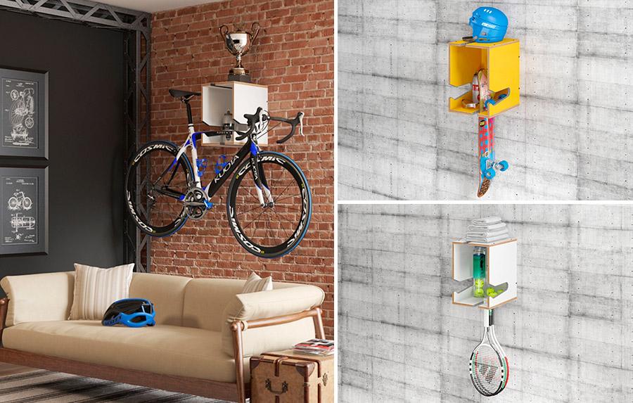 Repisa colgada en pared, porta bicicleta o para otros implementos deportivos de color blanca o amarilla.