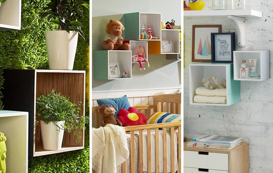Repisas en forma de cubo, de colores llamativos y utilizada de diferentes maneras: para organizar un baño, juguetes de niños o destacar accesorios decorativos como plantas,
