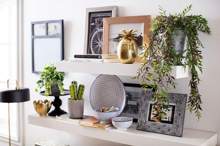 Repisas adornadas con distintos objetos de decoración como plantas, cuadros y otros accesorios