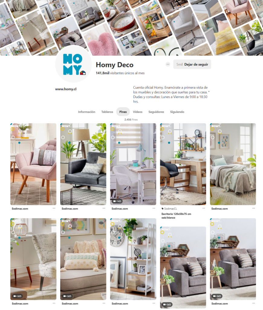Diferentes pines del Pinterest Homy Deco: sillas, deco, comedores, cojines, menaje, futones, etc.