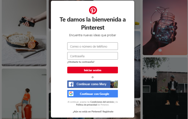 Instrucciones para registrarse y crear un cuenta Pinterest