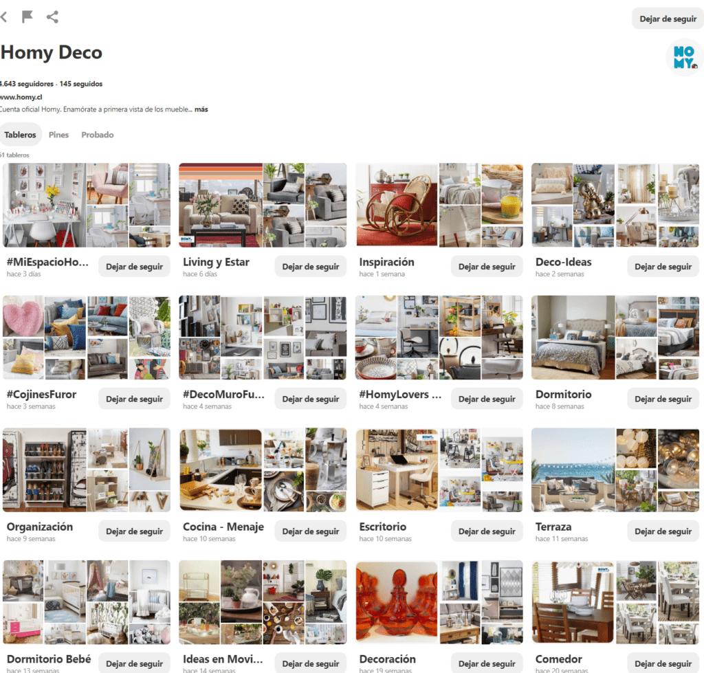 diferentes tableros de inspiración del Pinterest Homy Deco: living y estar, cojines, dormitorio, cocina, escritorio, entre otros.