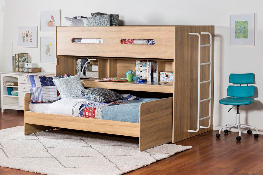 Camas infantil escritorio y camarote de madera todo en uno