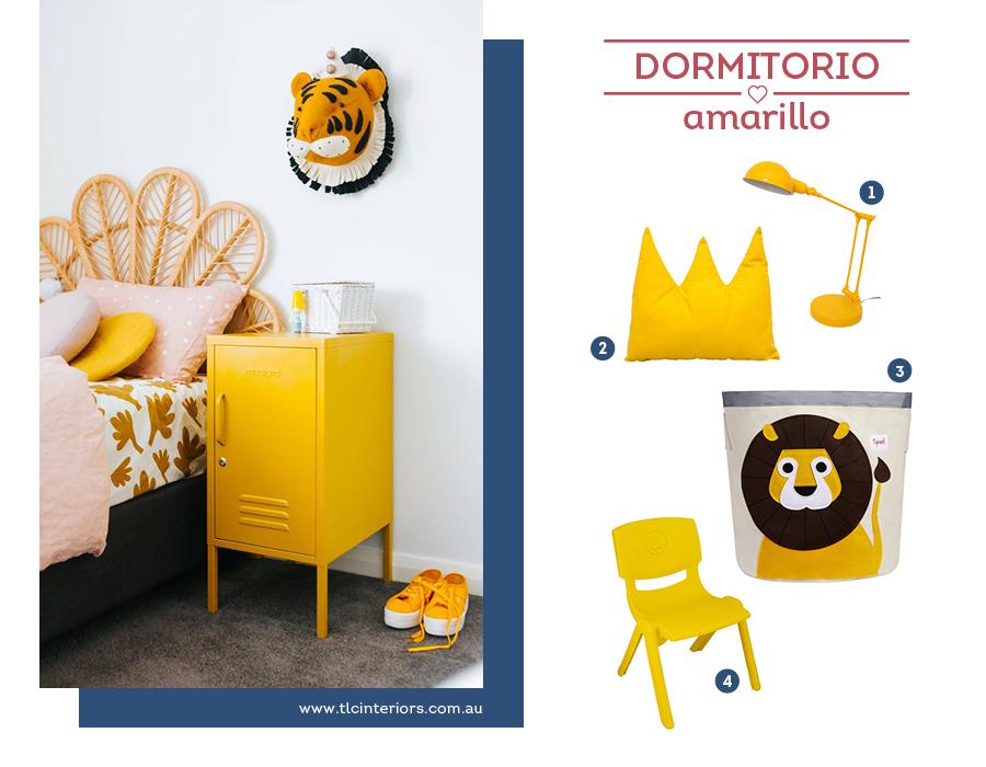 Dormitorio infantil en tonos amarillo