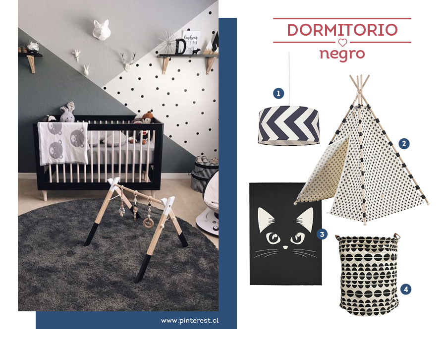 Dormitorio infantil en tonos negro y grises