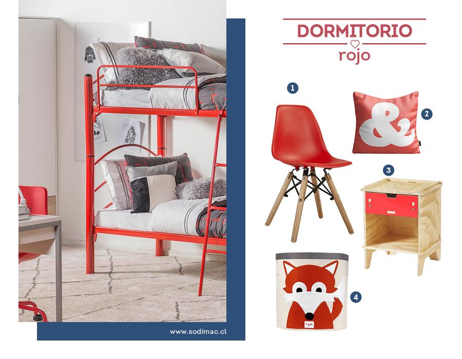 Dormitorio infantil en rojo