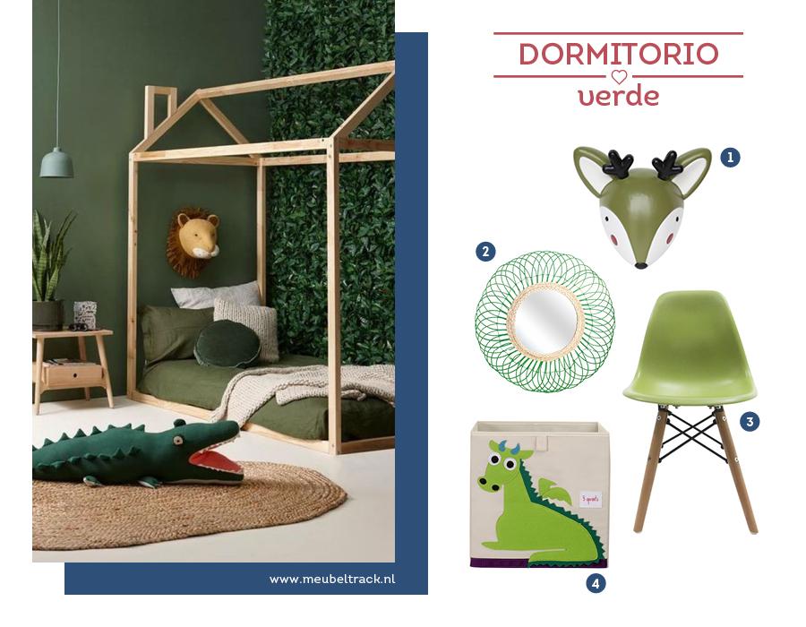 Dormitorio infantil en tonos verde