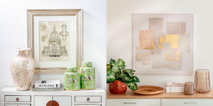 A la izquierda hay un cuadro con un marco de madera y paspartú. A la derecha, un canvas con arte.
