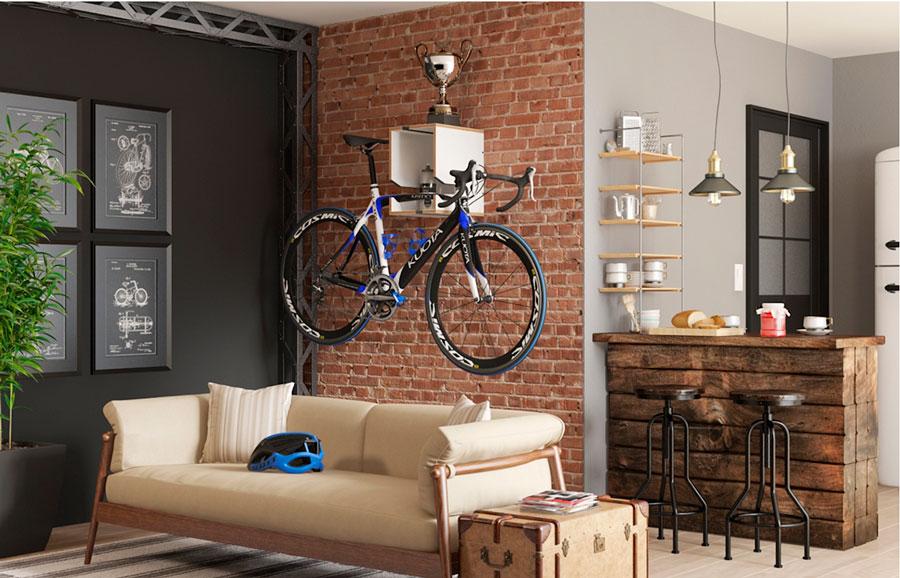 Residuo cero: repisa porta bicicleta para colgar en pared de madera y en distintos colores