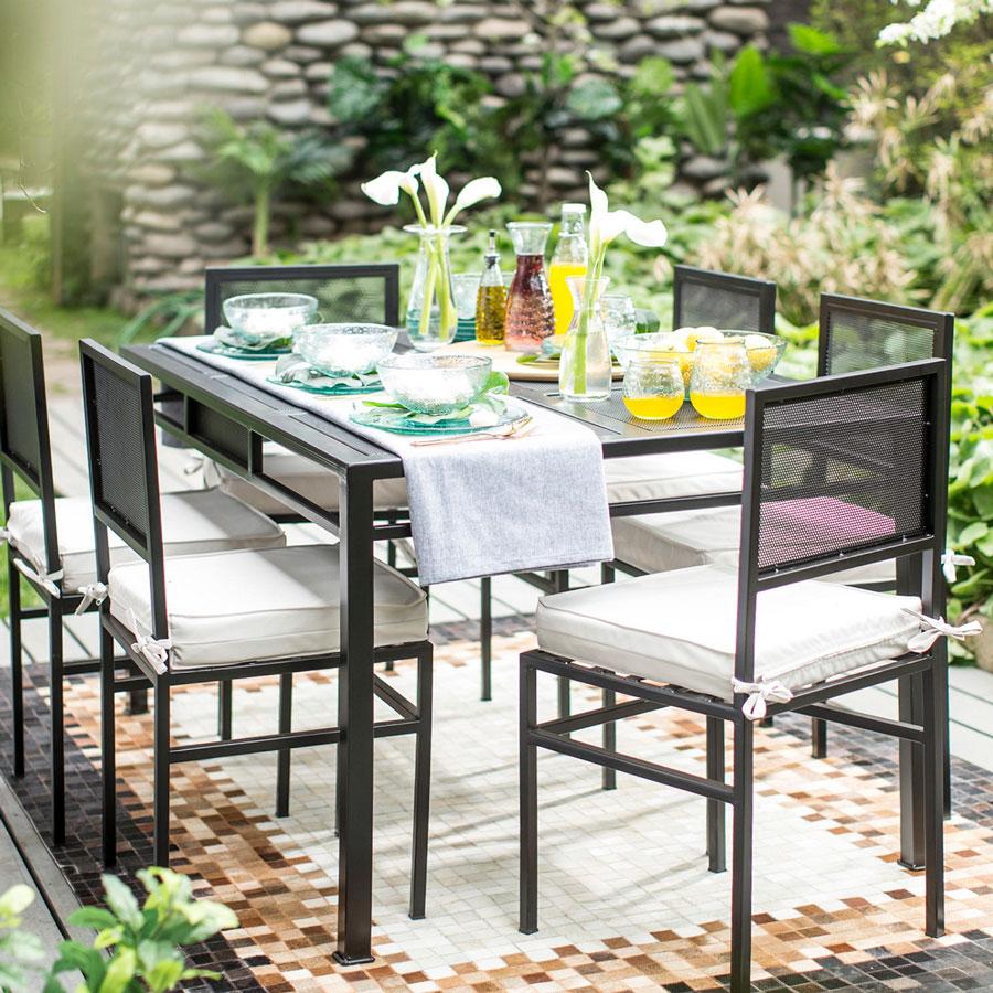 muebles terraza - comedor de aluminio mesa puesta