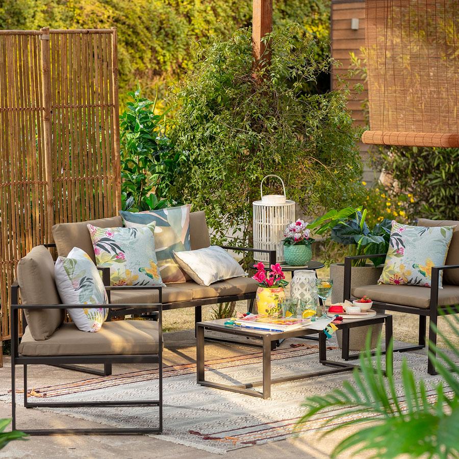 muebles terraza - juego de living de acero decorado