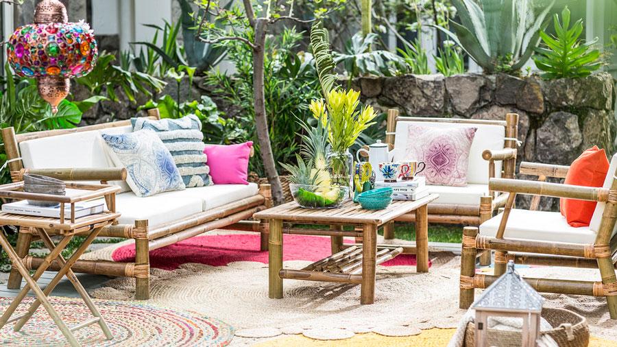 muebles terraza - living de terraza de bambú