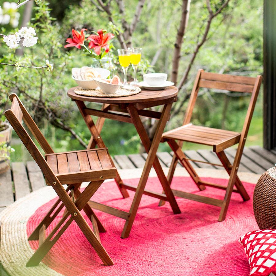 muebles terraza - juego de balcón de madera plegable