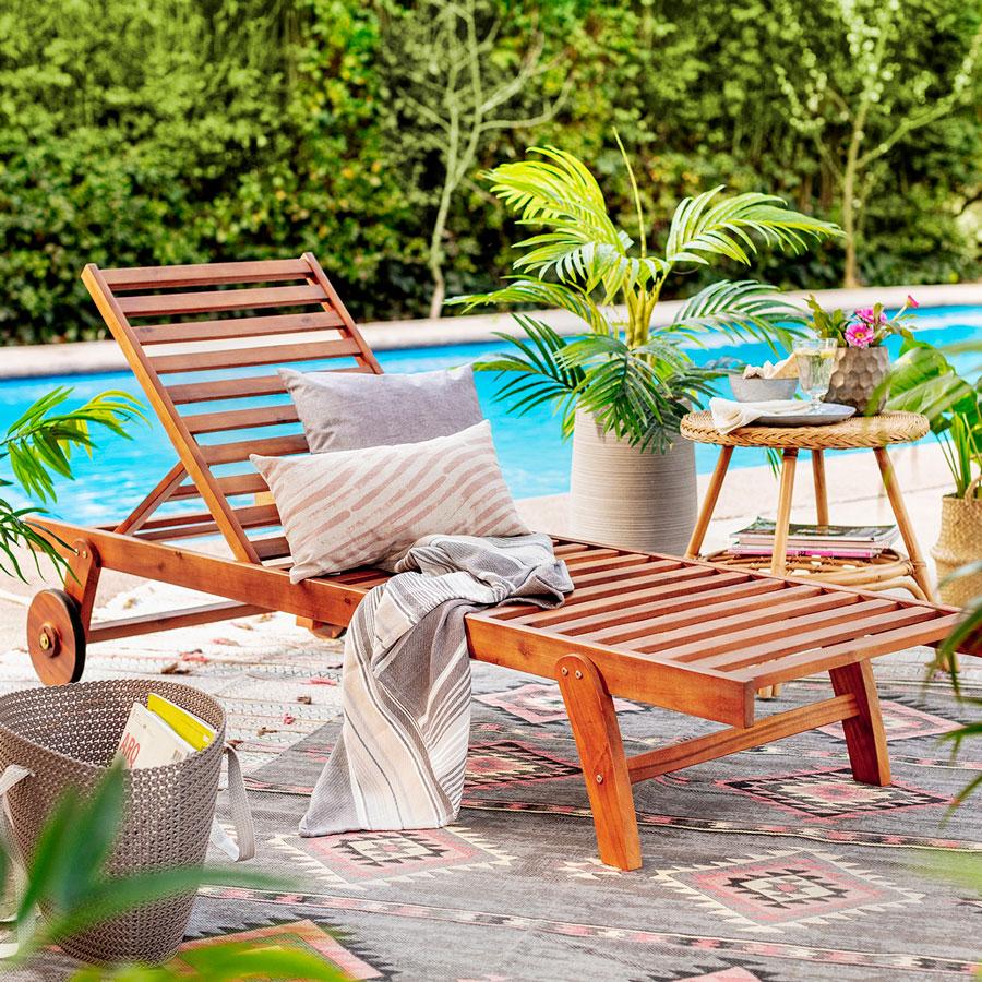 muebles terraza - reposera de bambú