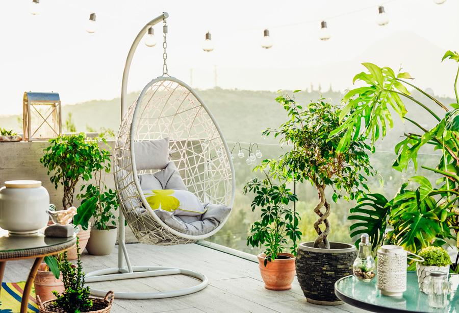 terraza con piso claro, con hamaca colgante de mimbre y plantas y macetas