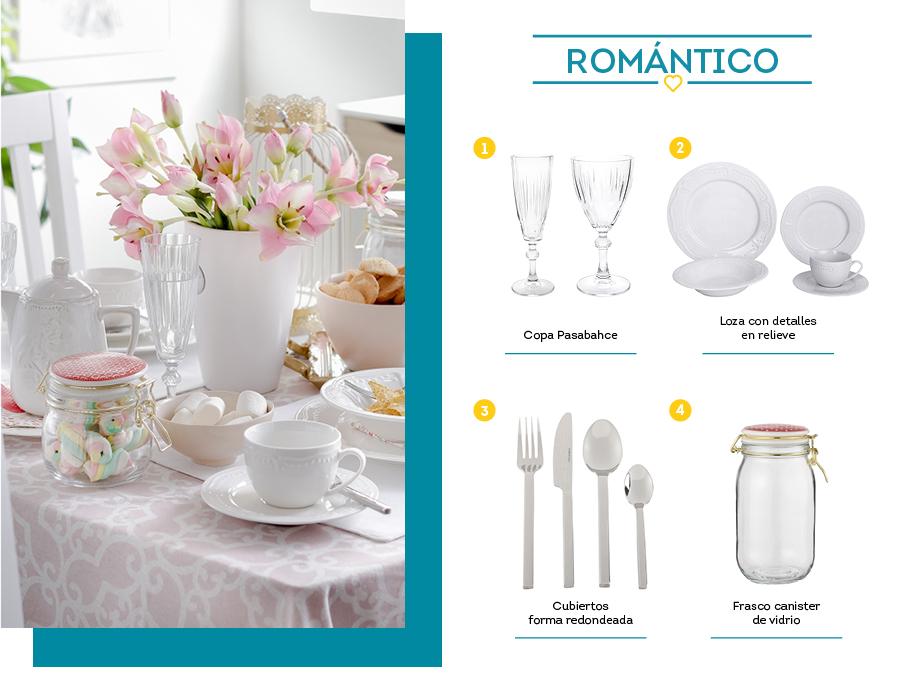 Menaje blanco romántico