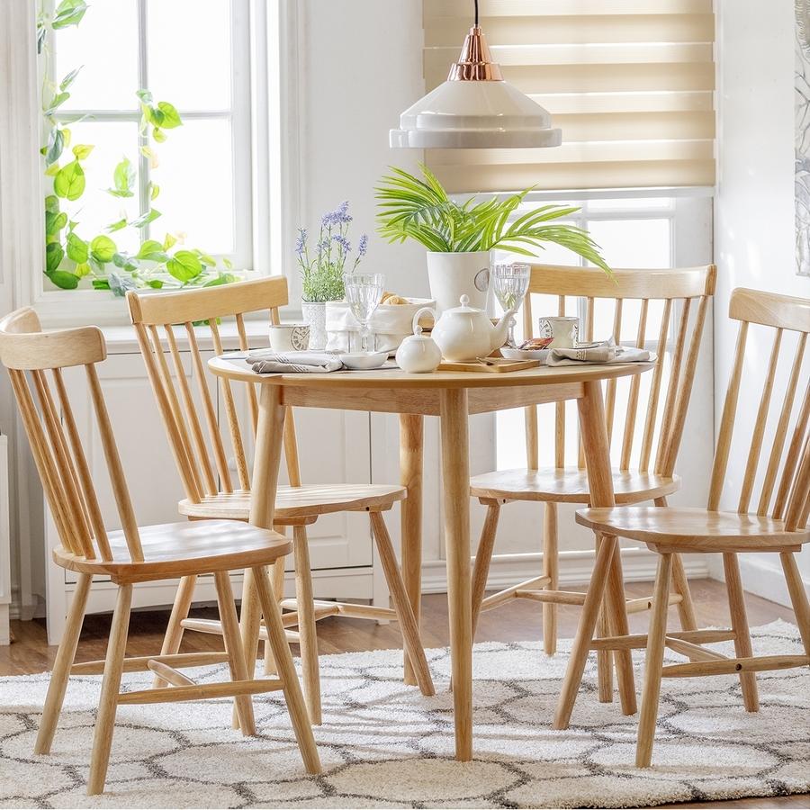 mesa de comedor redonda madera clara
