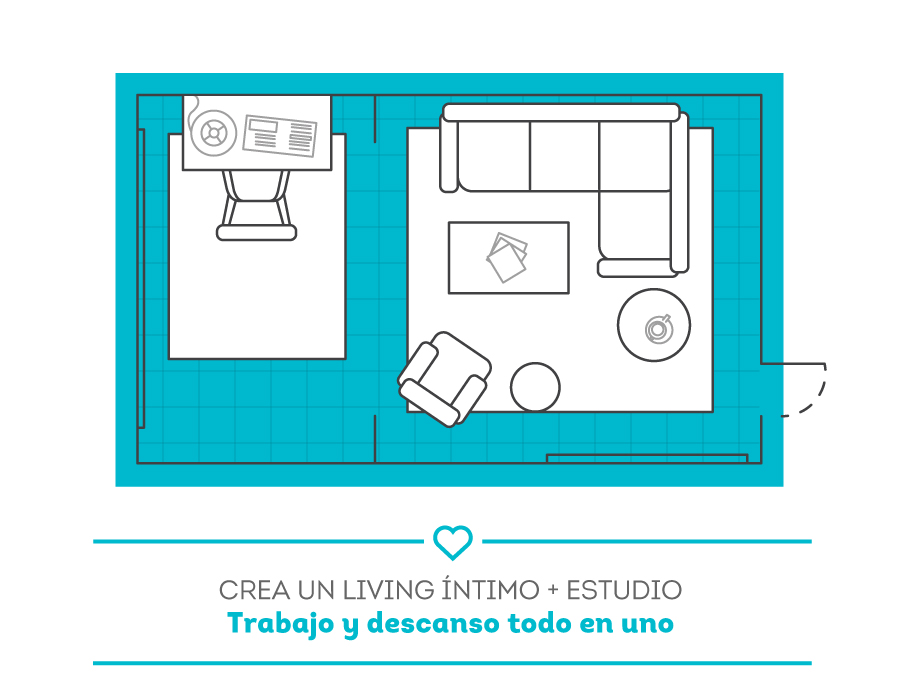 plano decoración living con escritorio
