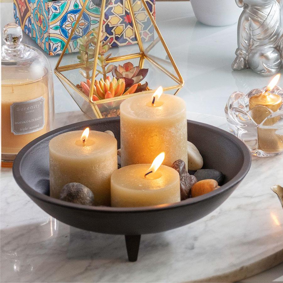 Spa en el baño con velas con enlace a la tienda online de Sodimac
