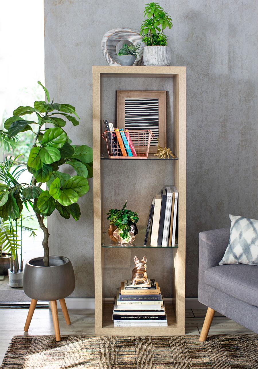 Estantería con libros y objetos decoraciones