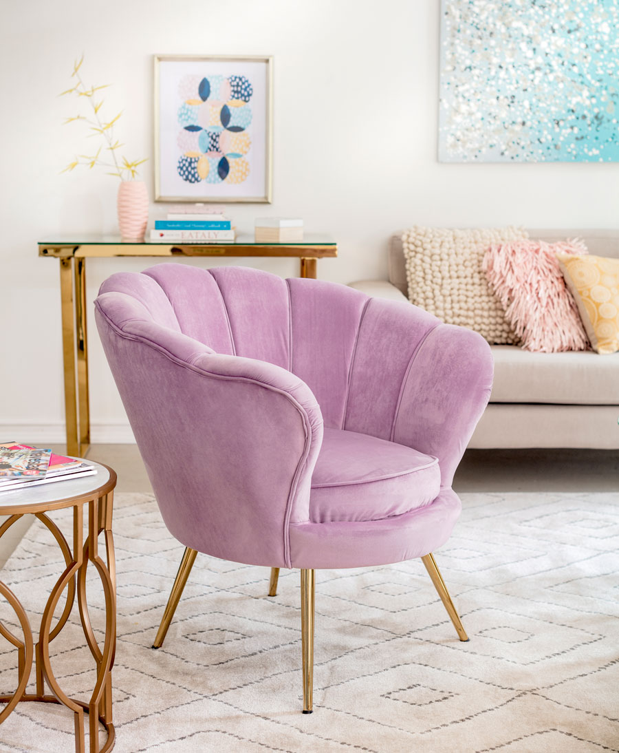 Poltrona velvet rosada