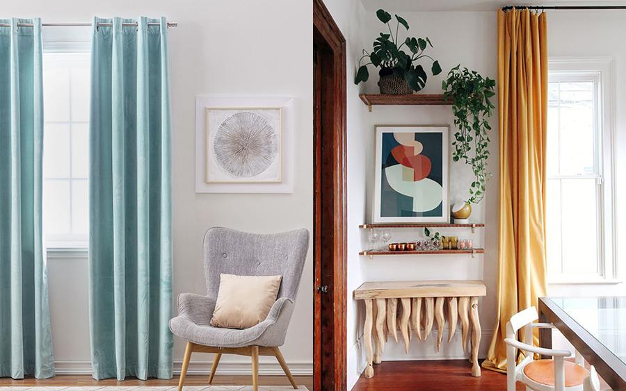 cortinas color turquesa mostaza