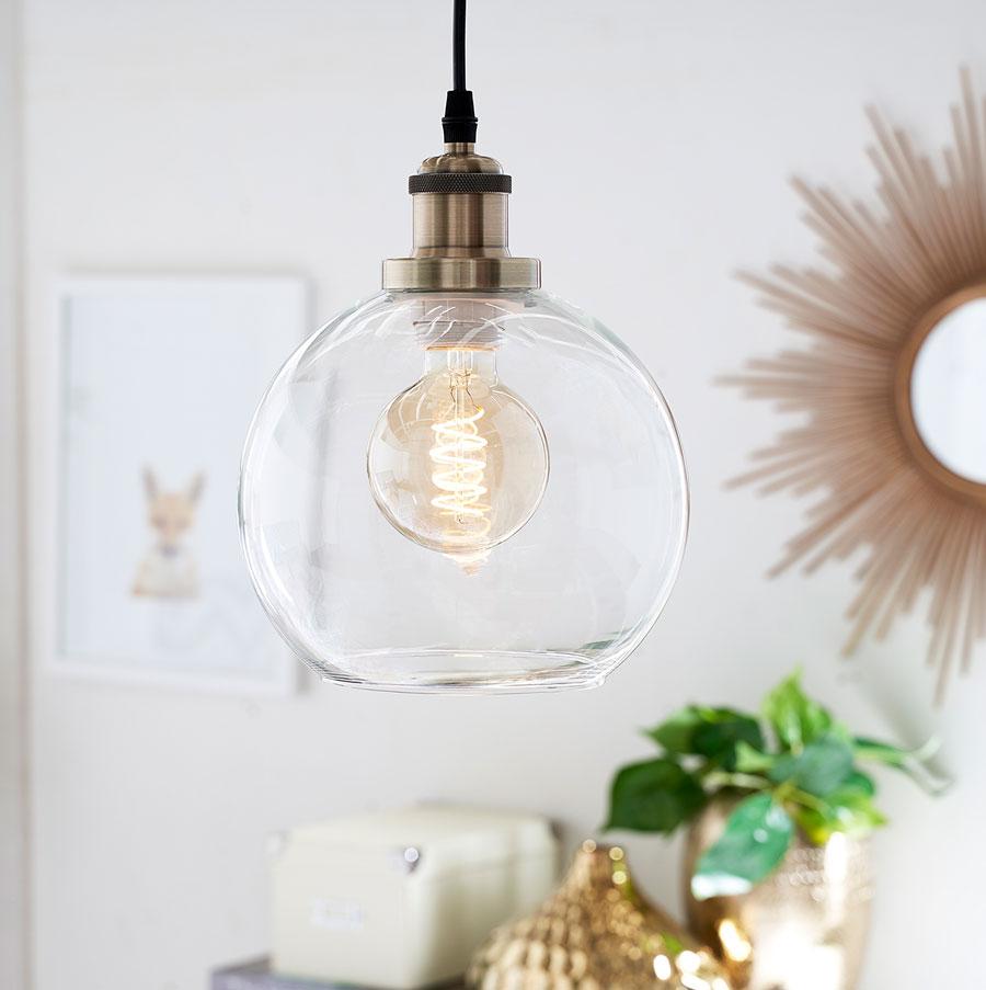 Lámpara colgante con ampolleta led vintage