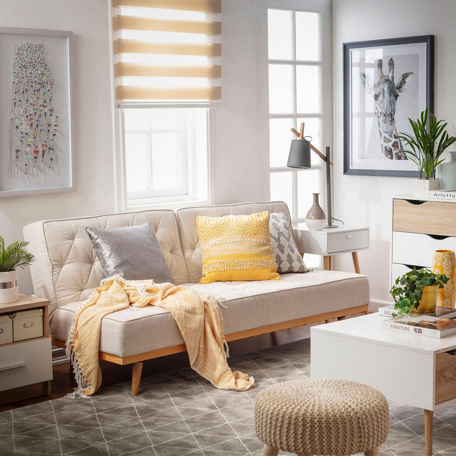 como decorar living pequeño - cortinas