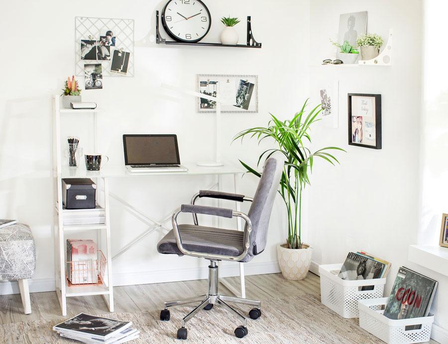 Planta kentia en esquina de escritorio