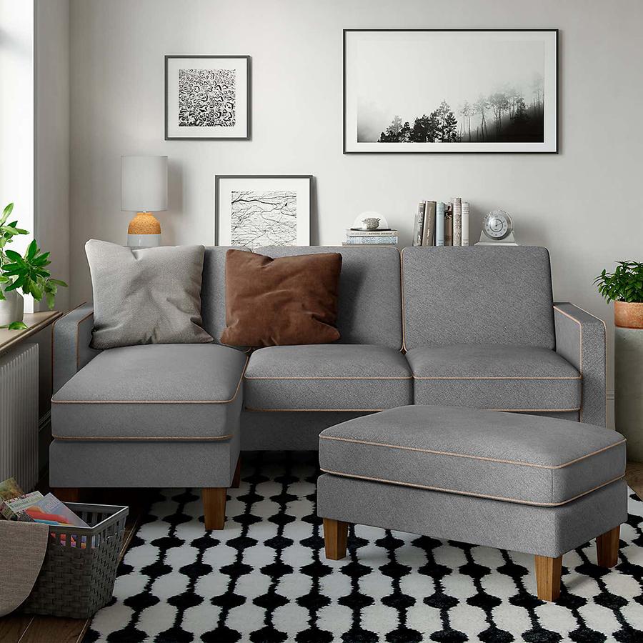 Trucos para que tu mini living parezca maxi: sofa en L en esquina