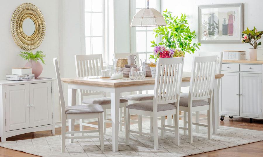pintura decoración - tonos blancos comedor y muebles