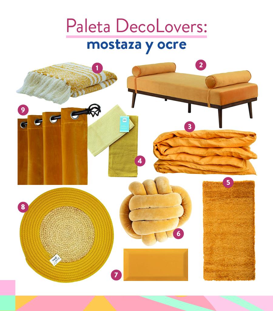 selección de productos decoración en ocre amarillo