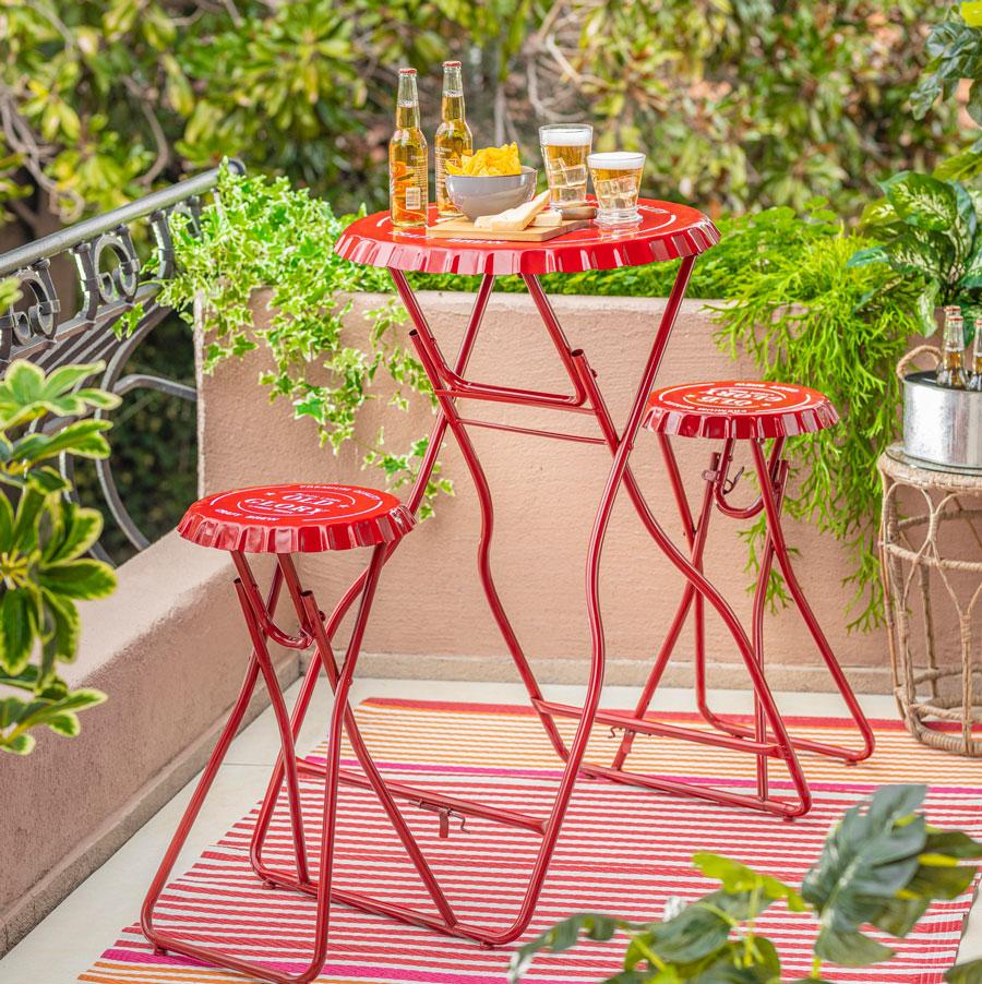 juego de balcón plegable rojo