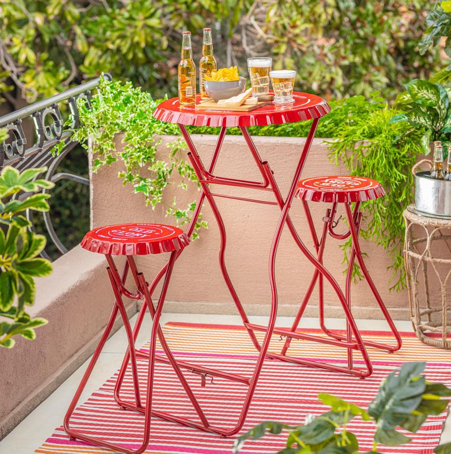 Juego de balcon rojo bristol plegable