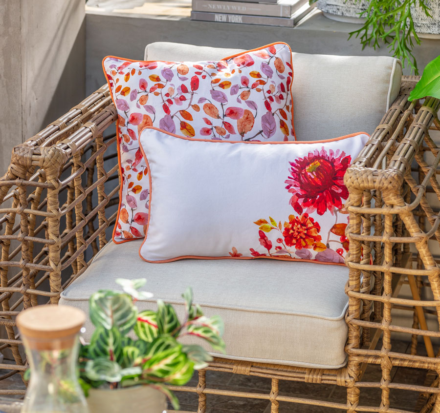 Muebles de terraza de rattan con cojines