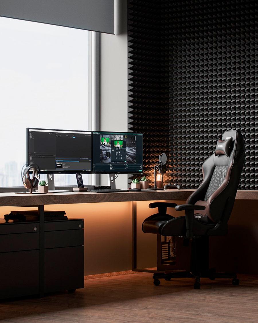 silla ergonómica para escritorio en estudio de grabación
