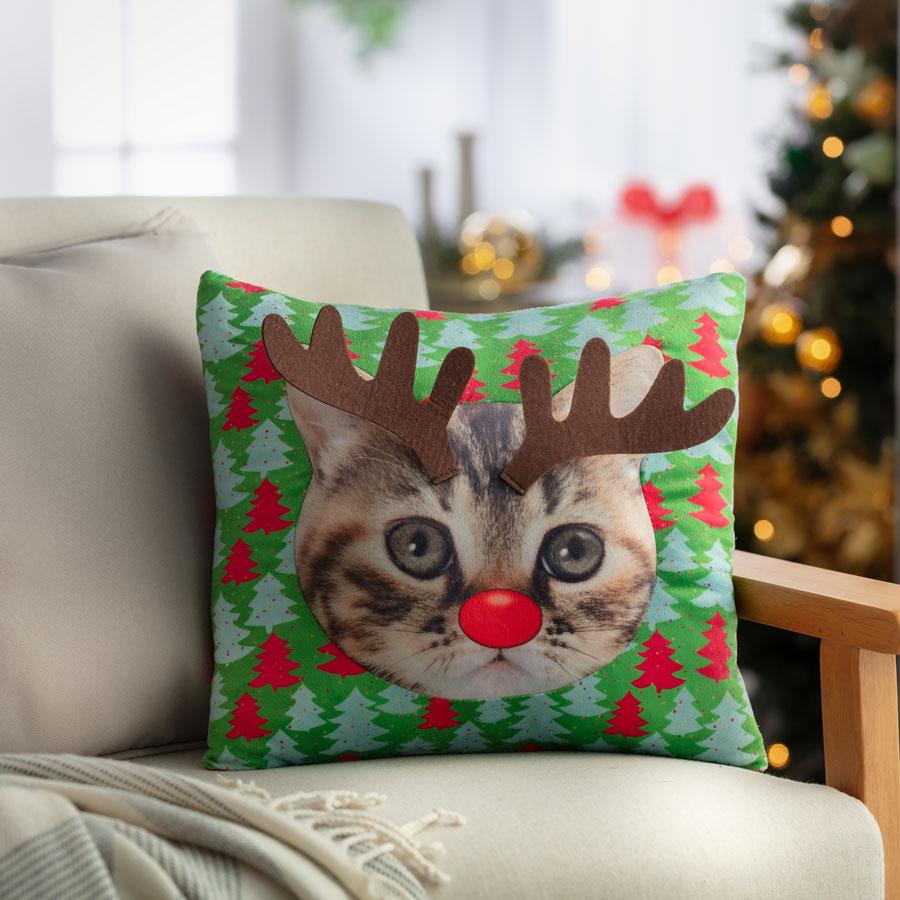 Cojin de navidad de gato con orejas de reno