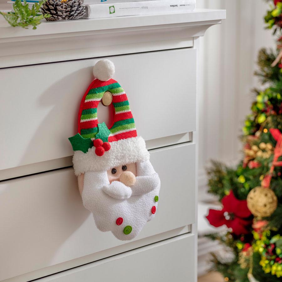 Decoracion textil para puerta de navidad