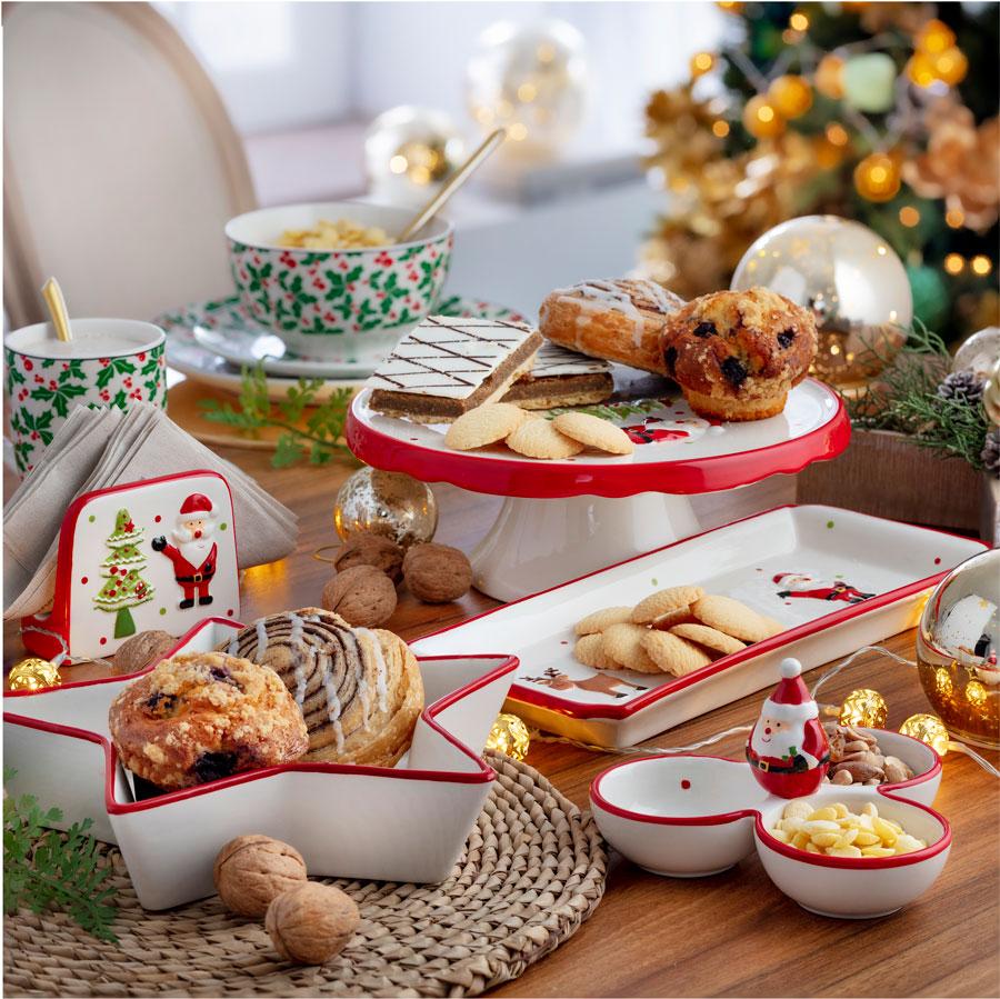 Fuentes y platos con motivos navideños